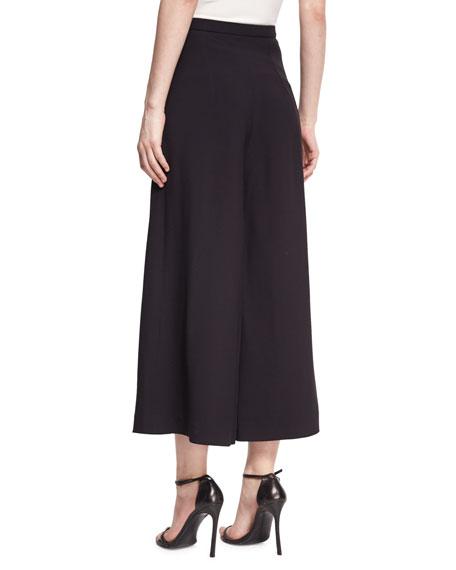 Wide-Leg Cropped Crepe Pants, Black