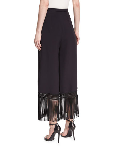 Fringed Wide-Leg Crepe Pants, Black