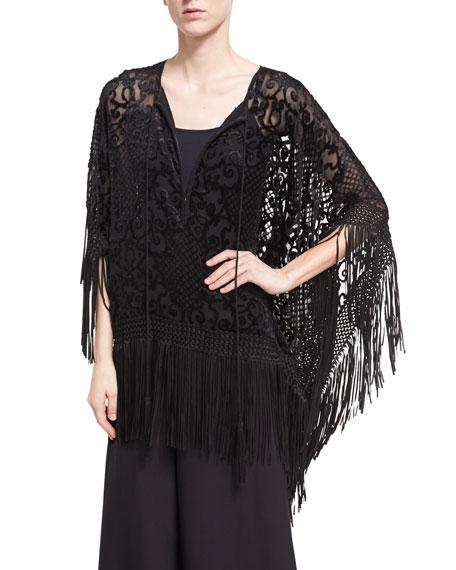 Velvet Devore Fringe Tunic, Black