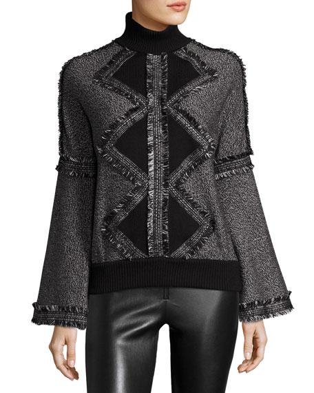 Fringed Wool Turtleneck Sweater, Black/White