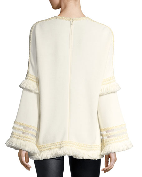 Tulle-Trim Bell-Sleeve Top