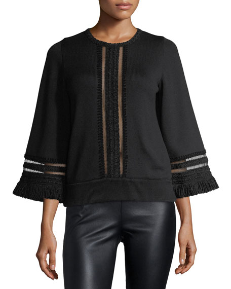 Tulle-Trim Pullover Sweater