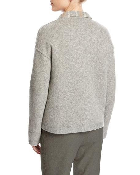 Leroy Reversible Plaid Mélange Flannel Double-Breasted Jacket, Beige