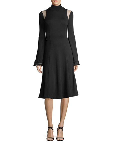 Andrew Gn Long-Sleeve Mock-Neck Sweaterdress