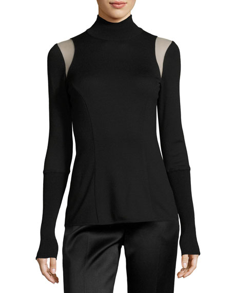 Andrew Gn KNIT TULLE-TRIM TURTLENECK SWEATER