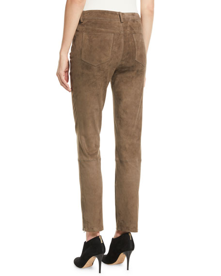 Mathias Side-Zip Skinny-Leg Stretch-Suede Pants