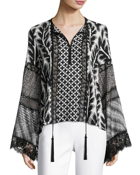 Patchwork Bell-Sleeve Silk Blouse, Black/White