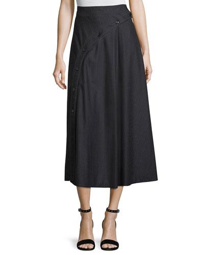 Pinstriped High-Waist Midi Skirt