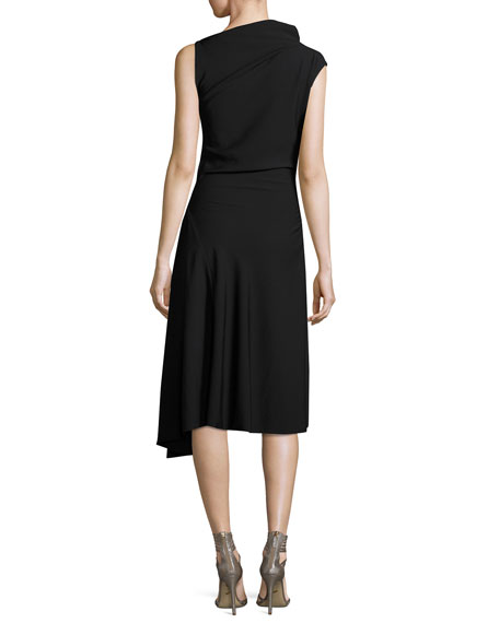 Asymmetric High-Neck Midi Dress, Black
