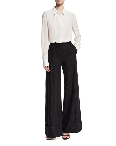 Cuffed Wide-Leg Pinstriped Pants