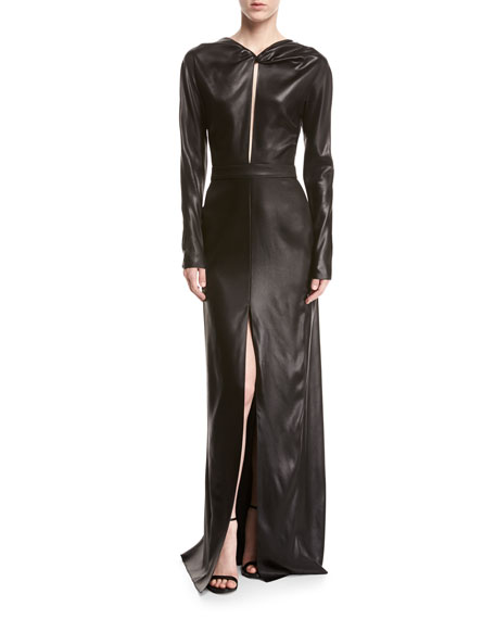 Long-Sleeve Faux-Leather Gown, Black