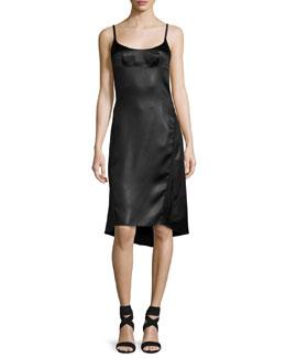 Satin Spaghetti-Strap High-Low Dress, Black