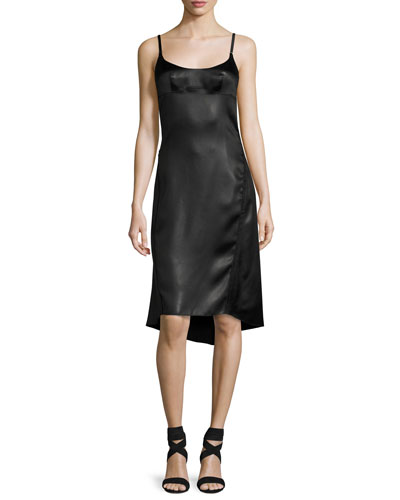 Satin Spaghetti-Strap High-Low Dress, Black
