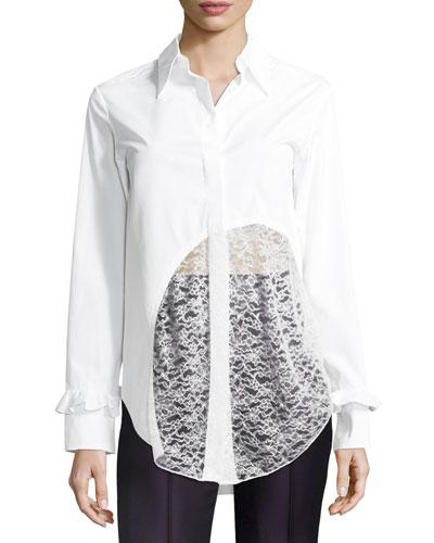 Lace-Hem Cotton Blouse