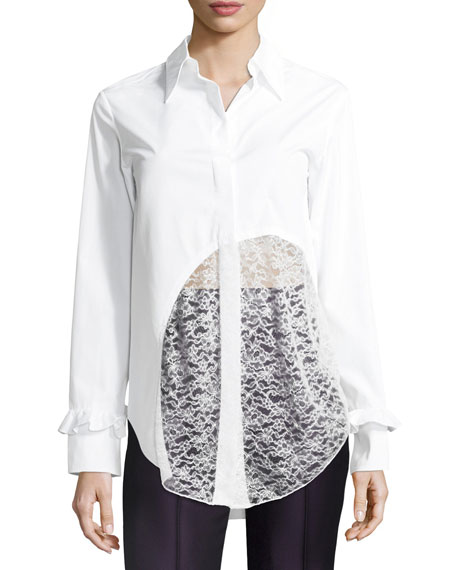Lace-Hem Cotton Blouse