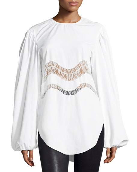 Nina Ricci Lace-Trim Puff-Sleeve Blouse, White