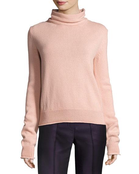 Knit Open-Back Turtleneck Sweater, Light Pink