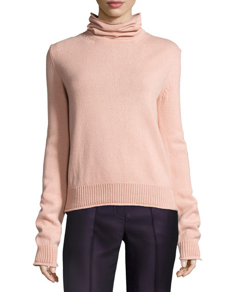 Knit Open-Back Turtleneck Sweater, Light Pink