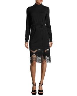 Mock-Neck Long-Sleeve Lace-Hem Dress, Black