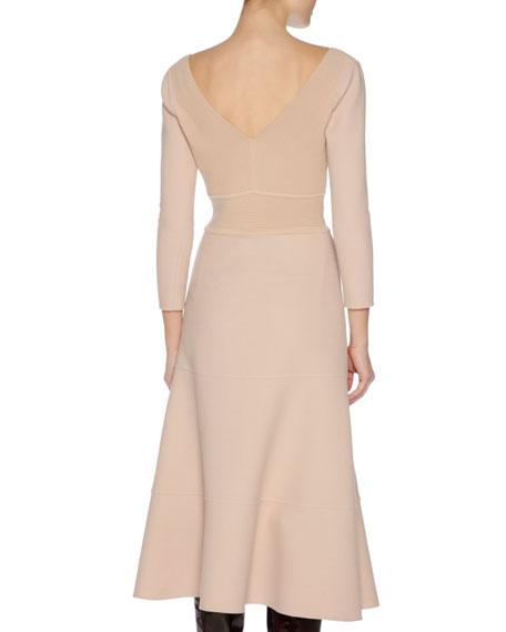 3/4-Sleeve Stretch-Wool Dress, Nude
