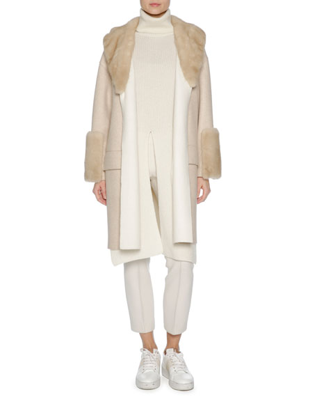Relaxed Cashmere Coat with Mink Fur Trim, Brown/White
