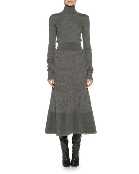 Agnona Long-Sleeve Metallic-Knit Sweaterdress, Gray
