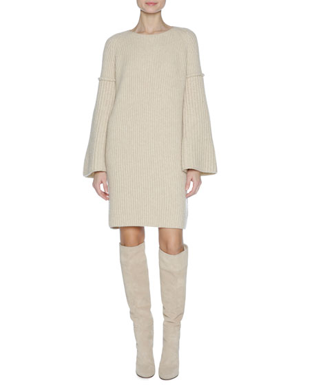 Long-Sleeve Knit Sweaterdress, Camel