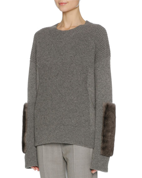 Mixed-Knit Cashmere Sweater w/Mink Fur Trim