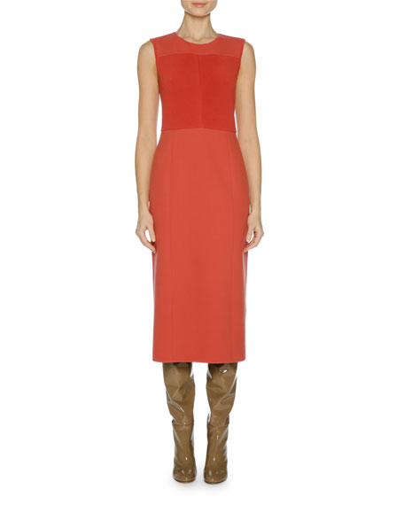 Sleeveless Double Stretch-Knit Dress, Red