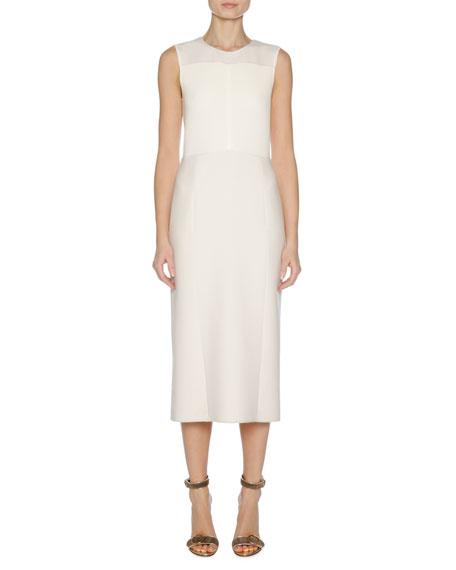 Sleeveless Stretch-Knit Sheath Dress, White