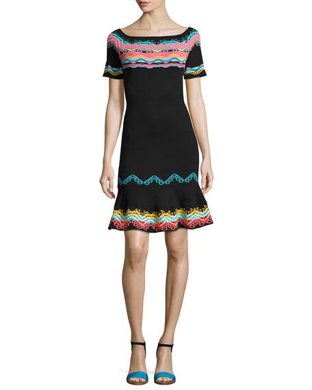 Short-Sleeve Geometric-Embroidered Dress, Multi