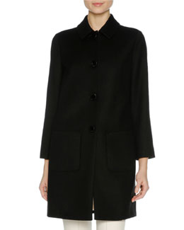 Wool Coat with Mink Fur Trim, Black