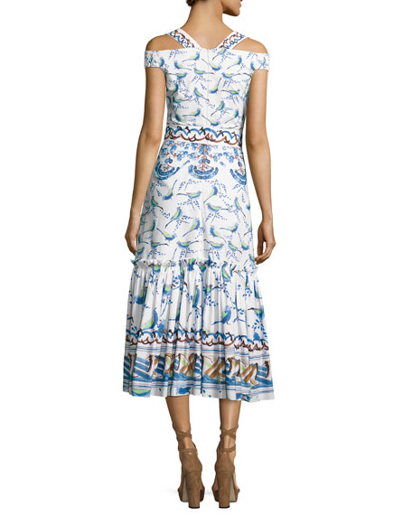 Bird & Floral Print Cold-Shoulder Midi Dress, Blue