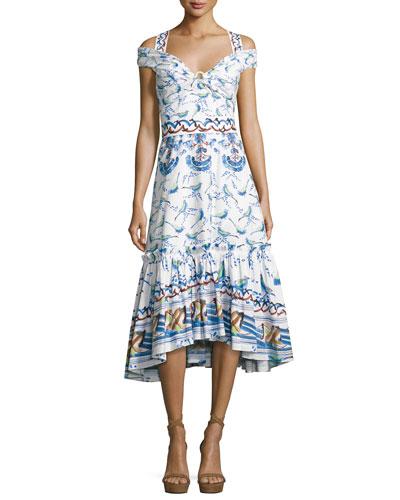 Bird & Floral Print Cold-Shoulder Midi Dress, Blue