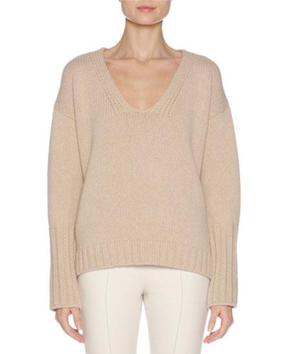 Wool-Cashmere V-Neck Sweater with Mink Fur Trim, Camel