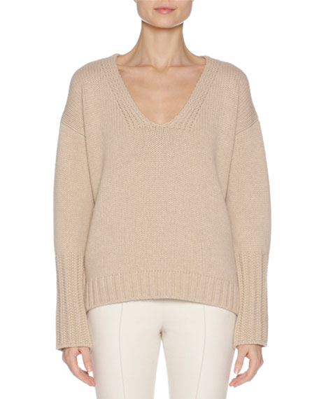 Wool-Cashmere V-Neck Sweater with Mink Fur Trim, Camel