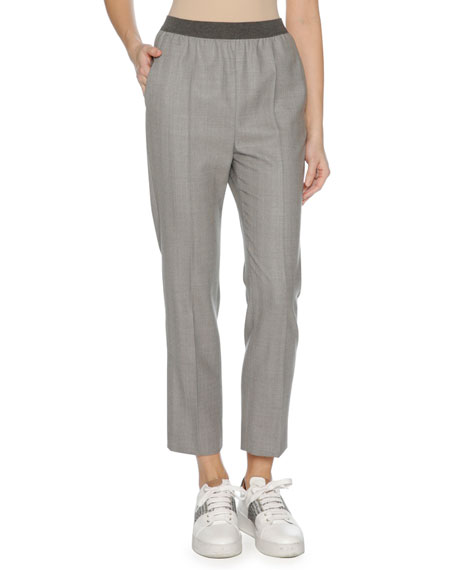 Agnona Stretch-Wool Trousers, Gray