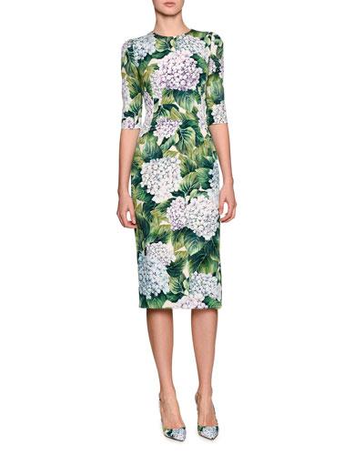Hydrangea-Print Elbow-Sleeve Dress, Green Pattern