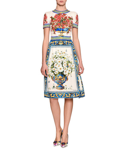 Short-Sleeve Maiolica Vase-Print Dress, Multi Pattern