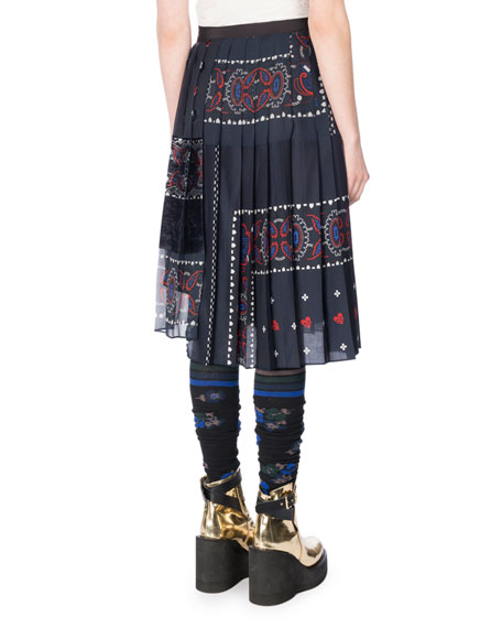 Pleated Bandana Patchwork Wrap Skirt, Navy