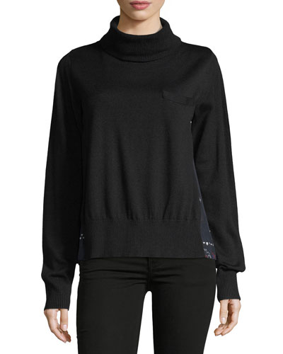 Turtleneck Sweater w/Bandana-Print Back
