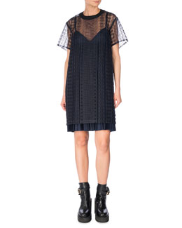 Short-Sleeve Cable Lace Dress, Navy