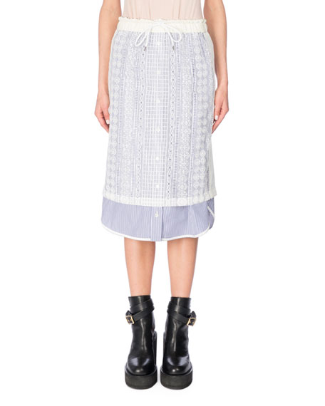 Cable Lace Drawstring Skirt, White