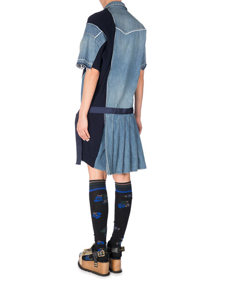 Short-Sleeve Patchwork Denim Shirtdress, Blue