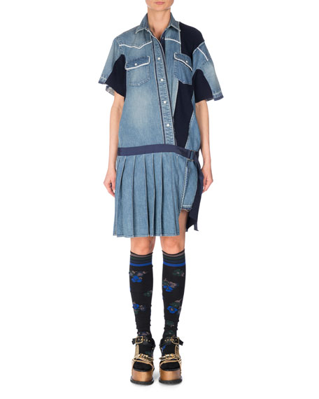 SACAI Short-Sleeve Patchwork Denim Shirtdress, Blue
