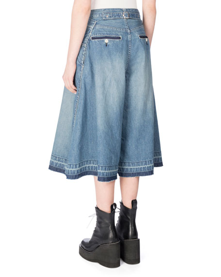 Cotton Denim Culottes, Blue