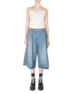 Cotton Denim Culottes, Blue