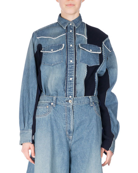 Long-Sleeve Patchwork Denim Shirt, Blue