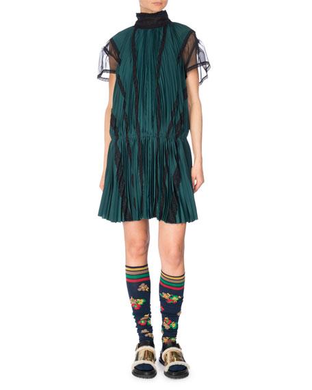 Pleated Drop-Waist Satin Dress, Green