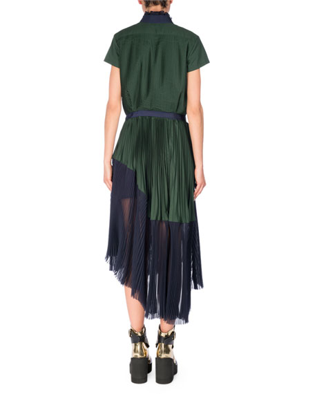 Pleated Short-Sleeve Shirtdress, Green/Blue